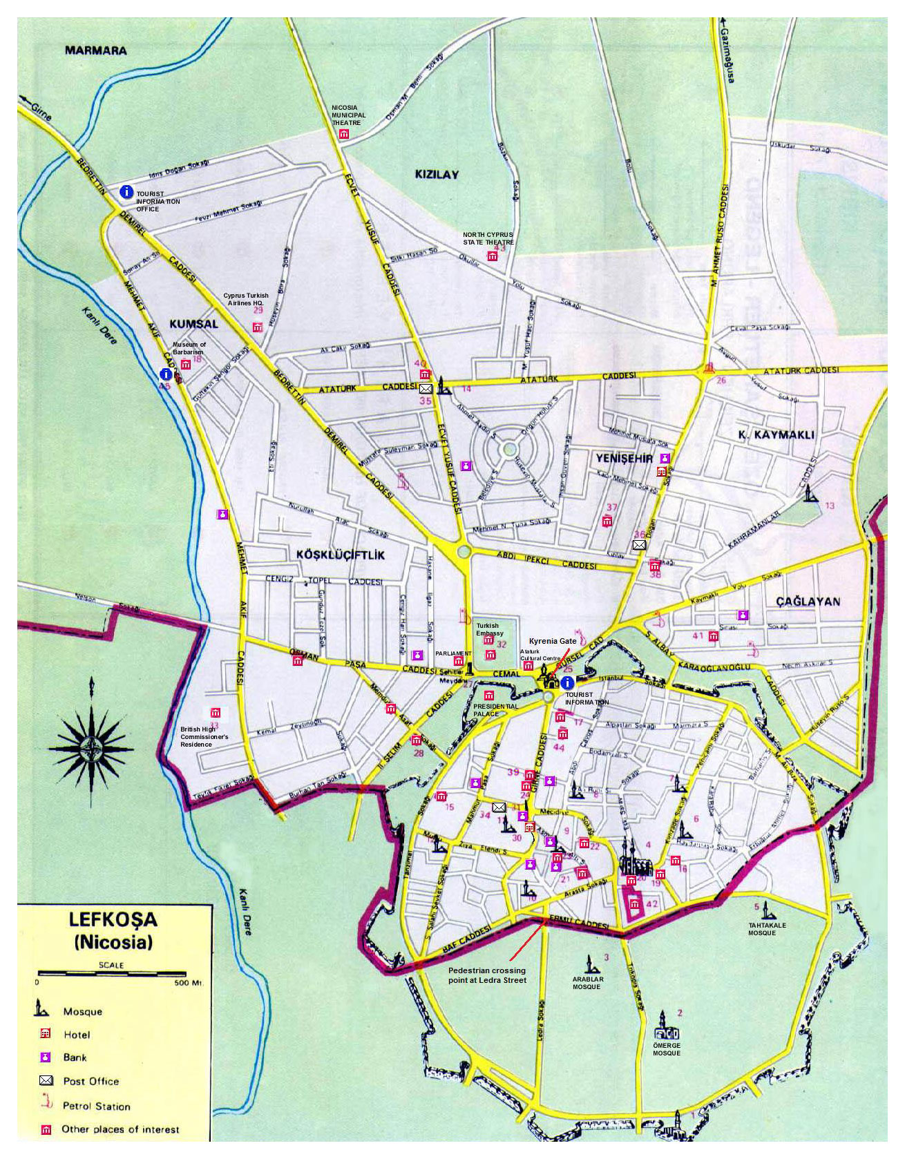 Nicosia Street Map Cypriot Turkish Maps of Cyprus