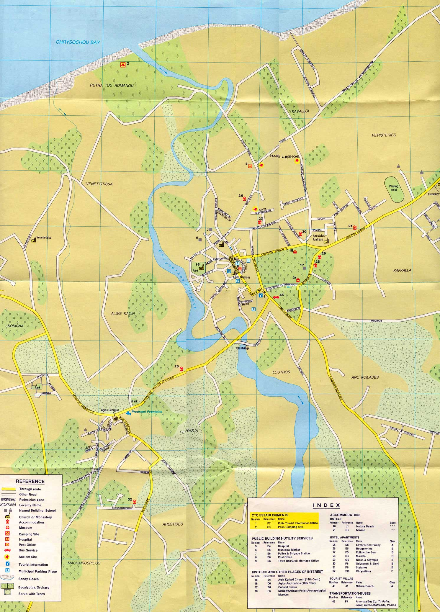 polis area strret map cyprus